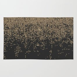 Speckled Gold Glitter Black Ombre Rug