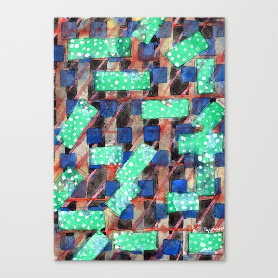Dotted Green Rectangles on Top Pattern Canvas Print