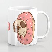 doughnut Mugs featuring Puglie Doughnut by Puglie Pug