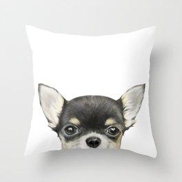 Chihuahua mix color Dog illustration original painting print Throw Pillow