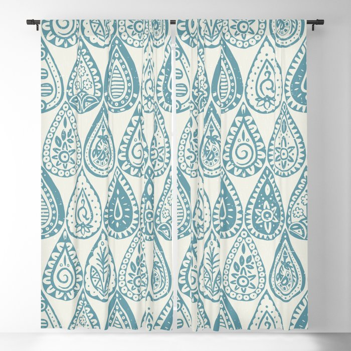 Indian raindrops blue Blackout Curtain