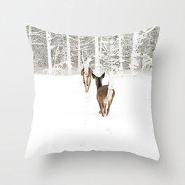 Doe In Winter Throw Pillow