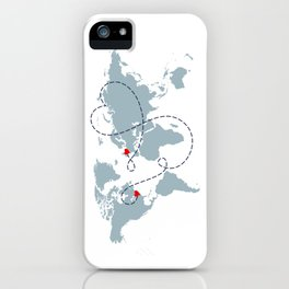 Long Distance World Map - UK to New York iPhone Case