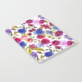 Magenta pink navy blue lilac watercolor floral Notebook