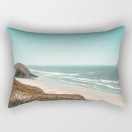 Beach Horizon | Teal Color Sky Ocean Water Waves Coastal Landscape Photograph Rectangular Pillow