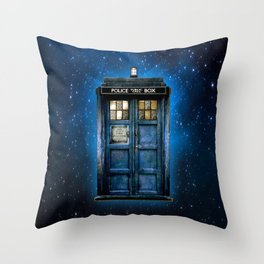 Beautiful tardis with yellow stained glass windows Throw Pillow