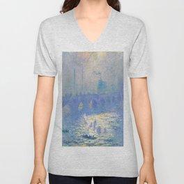Claude Monet's Waterloo Bridge Unisex V-Neck