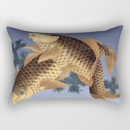 Hokusai – two carps -葛飾 北斎,engraving,carpa, fish. Rectangular Pillow