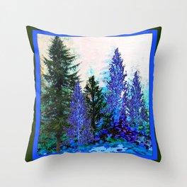 BLUE-GREEN MOUNTAIN FOREST LANDSCAPE Throw Pillow