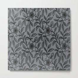 Vintage Lace Floral Sharkskin Metal Print