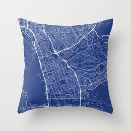Chula Vista Map, USA - Blue Throw Pillow