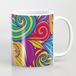 Vivid Whimsical Jewel Tone Retro Wave Print Pattern Coffee Mug