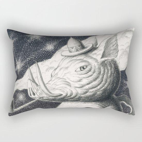 Pig Pipe Skull Rectangular Pillow