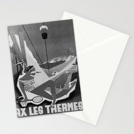 retro b/w Ax Les Thermes travel poster Stationery Cards