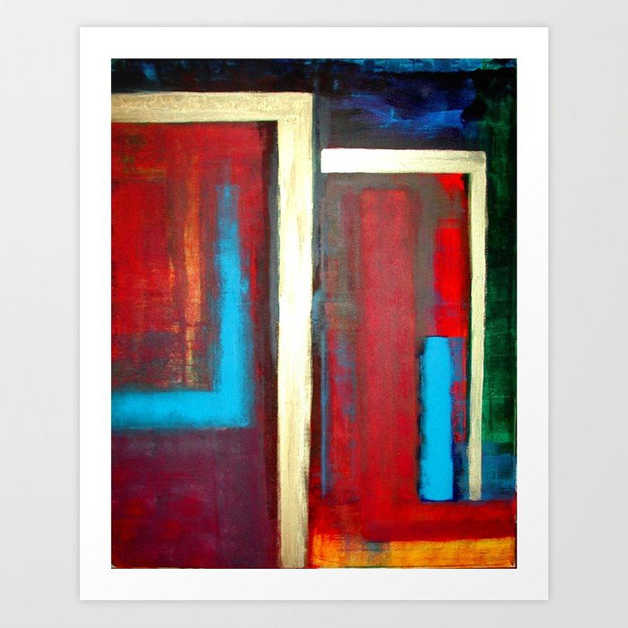 Blue, Red And Gold Modern Abstract Art Painting Art Print