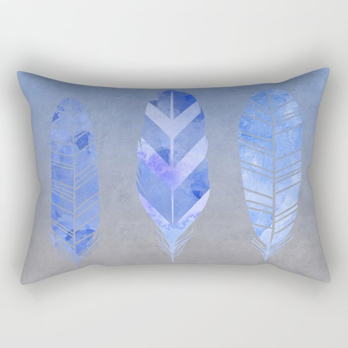 Blue Feather watercolor art Rectangular Pillow