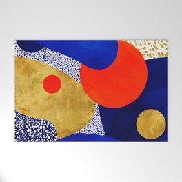 Terrazzo galaxy blue night yellow gold orange Welcome Mat
