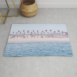 Vintage Newport Beach Print {3 of 4} | Photography Ocean Palm Trees Cool Blue Tropical Summer Sky Rug