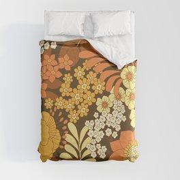 Brown, Yellow, Orange & Ivory Retro Flowers Duvet Cover
