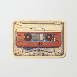 Mash Up Mixtape Vintage Record Player Cassette Tape Hybrid Bath Mat