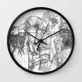 SOLVE ET COAGULA. New Composition. Ladies. Damascus. Triptych. Part 1. Illustration. INK ART. Yury F Wall Clock