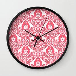Giraffe Damask Coral Wall Clock