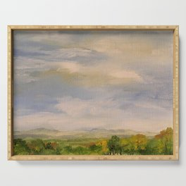 Scenic Autumn Late Afternoon in Vermont Nature Art Landscape Oil Painting Serving Tray