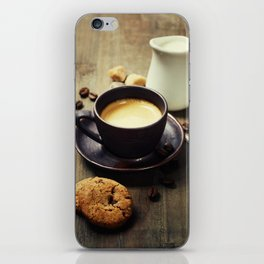 Coffee, milk and cookies on wooden background iPhone Skin