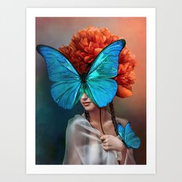 Surreal Portrait Wall Art, Butterflies Wall Decor, Abstract Canvas Art, Peony Flower Wall Art, Beautiful Surrealistic Art Art Print