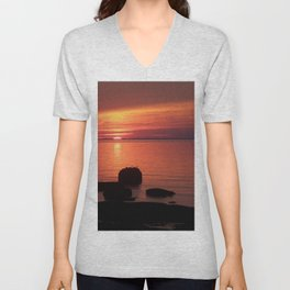 Peaceful Reflections of Nature at Dusk Unisex V-Neck