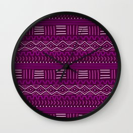 Mudcloth in Pinks Wall Clock