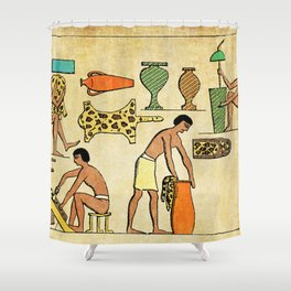 Modern hieroglyphs: Ancient Egypt workers tanning and finishing animal furs Shower Curtain