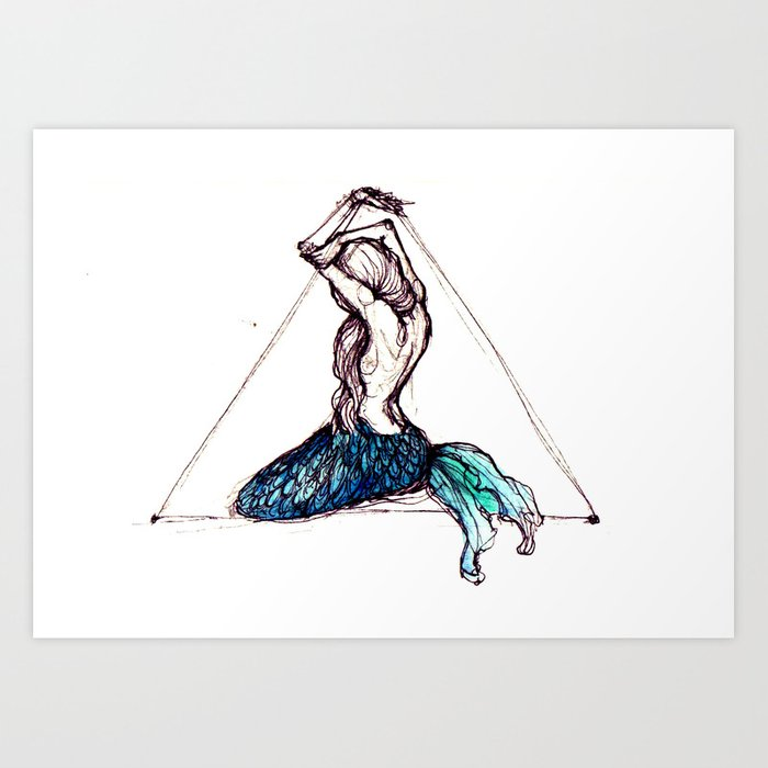 mermaid triangle Art Print