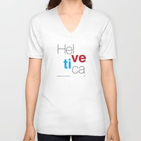 helvetica V-neck T-shirts featuring Helvetica by Ana Guillén Fernández