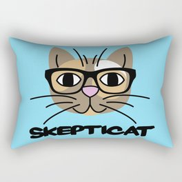 Skepticat Calico Kitty Cat (Blue Background) Rectangular Pillow