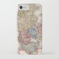 denmark iPhone & iPod Cases featuring Vintage Map of Denmark (1838) by BravuraMedia