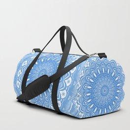 Light Blue Cobalt Mandala Simple Minimal Minimalistic Duffle Bag