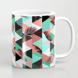 Memphis Style Triangle Palm Pattern – Caribbean Coffee Mug