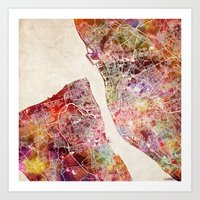 liverpool Art Prints featuring Liverpool by MapMapMaps.Watercolors