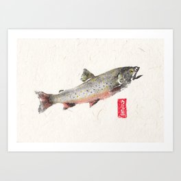 Brook Trout in Spawning colors-Gyotaku Art Print