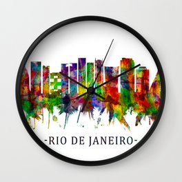Rio de Janeiro Brazil Skyline Wall Clock