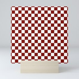 Vintage New England Shaker Barn Red and White Milk Paint Jumbo Square Checker Pattern Mini Art Print