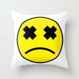 Sad Smiley Throw Pillow