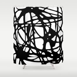 Black and White Abstract Painting I Shower Curtain