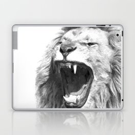 Black White Fierce Lion Laptop & iPad Skin
