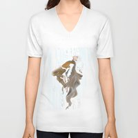 jack frost V-neck T-shirts featuring Jack Frost by becka_miller