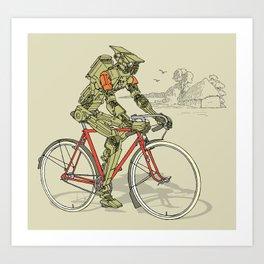 Robot Cyclist Art Print