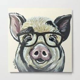 Pig with Glasses, Cute Farm Art Metal Print