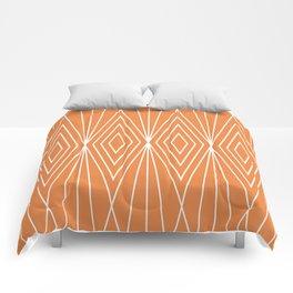 Simple Modern Diamond Lines Orange Comforters