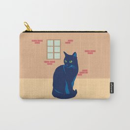 Black cat on the street Carry-All Pouch